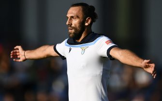 AURONZO DI CADORE, ITALY - July 23, 2021: Vedat Muriqi of SS Lazio gestures during the pre-season friendly football match between SS Lazio and US Triestina. SS Lazion won 5-2 over US Trientina. (Photo by Nicolò Campo/Sipa USA)