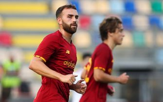 Borja Mayoral of Roma reacts during the Friendly Pre-Season football match between AS Roma and Debrecen on July 25, 2021 at Stadio Benito Stirpe in Frosinone, Italy - Photo Federico Proietti / DPPI