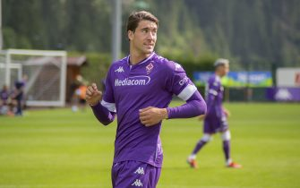 Moena (TN), ITALY - 20 JULY 2021: Dusan Vlahovic of ACF Fiorentina during the friendly match between ACF Fiorentina and Ostermunchen at Campo Benatti. Credit: Angela Krasniqi/Medialys Images/Sipa USA