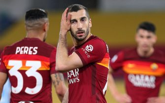 Henrikh Mkhitaryan of Roma reacts during the Italian championship Serie A football match between AS Roma and SS Lazio on May 15, 2021 at Stadio Olimpico in Rome, Italy - Photo Federico Proietti / DPPI / LiveMedia