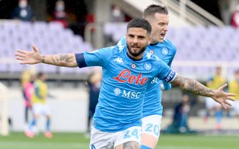 Napoli's forward Lorenzo Insigne celebrates after scoring during the Italian Serie A soccer match between ACF Fiorentina and SSC Napoli at the Artemio Franchi stadium in Florence, Italy, 16 May 2021. ANSA/CLAUDIO GIOVANNINI