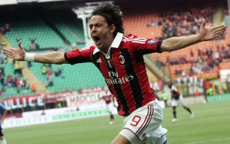 Ac Milan's Italian forward Filippo Inzaghi celebrates after scoring  against Ac Novara at Giuseppe Meazza stadium in Milan, Italy, 13 May 2012. Inzaghi plays his last match for Ac Milan. ANSA / MATTEO BAZZI
