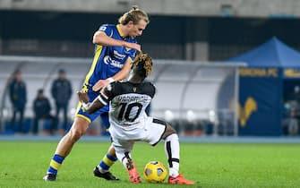 Foul of Antonin Barak (Hellas Verona) on Yann Karamoh (Parma)