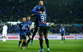 Atalanta?s Josip Ilicic (up) jubilates with his teammate Duvan Zapata after scoring the goal during the Italian Serie A soccer match Atalanta BC vs S.P.A.L. at the Gewiss stadium in Bergamo, Italy, 20 January 2020.ANSA/PAOLO MAGNI