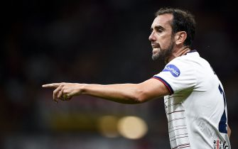 MILAN, ITALY - August 29, 2021: Diego Godin of Cagliari Calcio gestures during the Serie A football match between AC Milan and Cagliari Calcio. (Photo by Nicolò Campo/Sipa USA)