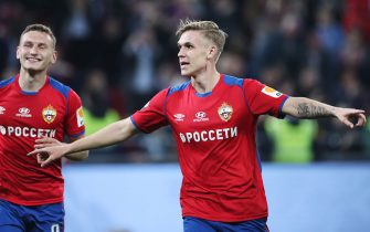MOSCOW, RUSSIA - APRIL 24: Arnor Sigurdsson (R) and  Fyodor Chalov of PFC CSKA Moscow celebrate a goal during the Russian Football League match between PFC CSKA Moscow and FC Anji Makhachkala on APRIL 24, 2019 in Moscow, Russia. (Photo by Epsilon/Getty Images)