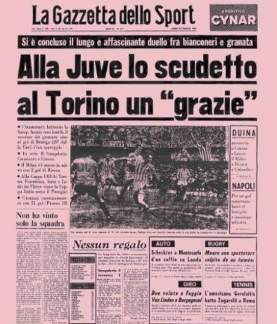 Prima pagina de La Gazzetta Dello Sport del 23 maggio 1977