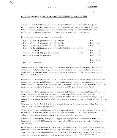 La lettera scambiata tra Boniperti e l'ufficio pubblicità della Fiat