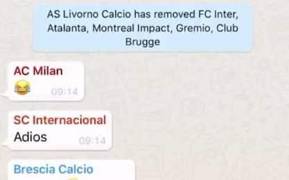 Livorno, cancellati tutti i nerazzurri dalla chat