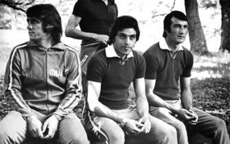 © LAPRESSEGIUGNO 1974SPORT CALCIOMONDIALI DI CALCIO IN GERMANIA 1974NELLA FOTO DA SINISTRA: I CALCIATORI ITALIANI ROBERTO BONINSEGNA, GIGI RIVA, FRANCO CAUSIO ED ENRICO ALBERTOSI IN UN MOMENTO DI RIPOSO.BUSTA 3036