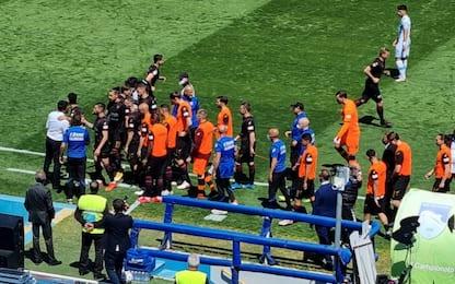 Salernitana, i giocatori solidali con Grassadonia
