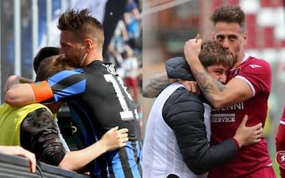 Da Bergamo a Reggio, Denis esulta col figlio