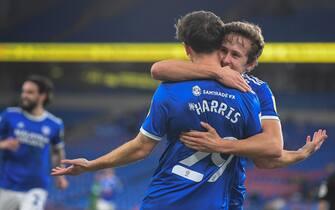Will Vaulks #6 of Cardiff City celebrates Mark Harris #29 of Cardiff City goal to make it 4-0 in Cardiff, UK on 2/20/2021. (Photo by Mike Jones/News Images/Sipa USA)