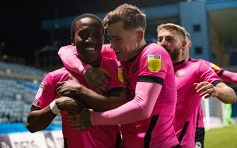 Siriki Dembélé of Peterborough United (10) celebrates with Sammie Szmodics of Peterborough United after scoring his side's 2nd goal to make it 1-2 during the Sky Bet League 1 match at the MEMS Priestfield Stadium, GillinghamPicture by Alan Stanford/Focus Images/Sipa USA 16/02/2021