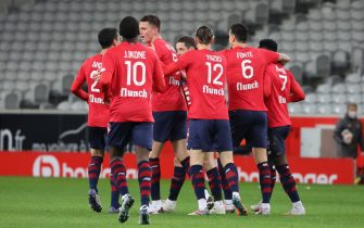 Congartulations LOSC after one goal during the French championship Ligue 1 football match between Lille OSC and Stade de Reims on January 17, 2021 at Pierre Mauroy stadium in Villeneuve-d'Ascq near Lille, France - Photo Laurent Sanson / LS Medianord / DPPI / LiveMedia