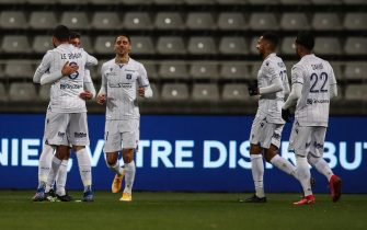 epa08835170 Auxerre's players celebrate after scoring the first goal during the French Ligue 2 soccer match between Paris FC and Auxerre at Stade Charlety in Paris, France, 21 November 2020.  EPA/Mohammed Badra