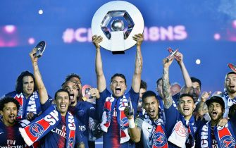epa08389424 (FILE) - Paris Saint Germain players celebrate with the league winner trophy during a ceremony after the French Ligue 1 soccer match between Paris Saint-Germain (PSG) and Dijon FCO at the Parc des Princes stadium in Paris, France, 18 May 2019 (re-issued on 28 April 2020). The 2019-20 Ligue 1 and Ligue 2 seasons have been cancelled after the French Prime Minister Edouard Philippe announced that no sporting events will be allowed to take place until September with or without spectators.  EPA/Julien de Rosa *** Local Caption *** 55205070