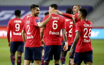 Mehmet Zeki Celik of Lille celebrates his goal with Jose Fonte, Burak Yilmaz, Reinildo Mandava during the French championship Ligue 1 football match between Lille OSC (LOSC) and OGC Nice (OGCN) on May 1, 2021 at Stade Pierre Mauroy in Villeneuve-d'Ascq near Lille, France - Photo Jean Catuffe / DPPI / LiveMedia