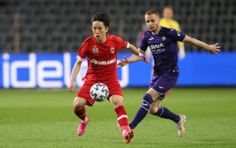 Antwerp's Koji Miyoshi and Anderlecht's Adrien Trebel fight for the ball during a soccer match between RSC Anderlecht and Royal Antwerp FC, Saturday 08 May 2021 in Brussels, on the day 2 out of 6, in the 'Champions' play-offs' of the 'Jupiler Pro League' first division of the Belgian championship. BELGA PHOTO VIRGINIE LEFOUR (Photo by VIRGINIE LEFOUR/Belga/Sipa USA)