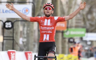 Team Sunweb Belgium rider Tiesj Benoot celebrates as he crosses the finish line at the end of the 161,5 km,  6th stage of the 78th Paris - Nice cycling race stage between Sorgues  and Apt, on March 13, 2020. - The organizers of the 78th Paris-Nice cycling race announced on March 13, 2020 the cancellation of the last stage scheduled for Sunday due to the coronavirus pandemic. (Photo by Alain JOCARD / AFP) (Photo by ALAIN JOCARD/AFP via Getty Images)