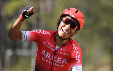 Team Arkea Samsic Colombian rider Nairo Quintana celebrates as he crosses the finish line at the end of the 166,5 km, 7th stage of the 78th Paris - Nice cycling race stage between Nice and Valdeblore La Colmiane, on March 14, 2020. - The organizers of the 78th Paris-Nice cycling race announced on March 13, 2020 the cancellation of the last stage scheduled for Sunday due to the coronavirus pandemic. (Photo by Alain JOCARD / AFP) (Photo by ALAIN JOCARD/AFP via Getty Images)