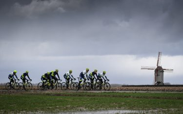 Circus Wanty-Gobert riders pictured in action during the reconnaissance of the track, ahead of the 75th edition of the one-day cycling race Omloop Het Nieuwsblad, Wednesday 26 February 2020. BELGA PHOTO DAVID STOCKMAN (Photo by DAVID STOCKMAN/BELGA MAG/AFP via Getty Images)