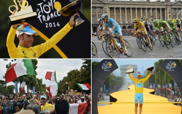 A combination of pictures shows (From L, up to bottom) Tour de France 2014's winner Italy's Vincenzo Nibali posing on the podium ; Italy's Vincenzo Nibali wearing the overall leader's yellow jersey riding in the pack ; Tour de France 2014's winner Italy's Vincenzo Nibali with supporters ; and Tour de France 2014's winner Italy's Vincenzo Nibali posing on the podium; as part of the 137.5 km twenty-first and last stage of the 101st edition of the Tour de France cycling race on July 27, 2014 between Evry and Paris.  AFP PHOTO / LIONEL BONAVENTURE / ERIC FEFERBERG / JEFF PACHOUD / JEROME PREVOST        (Photo credit should read JEFF PACHOUD,LIONEL BONAVENTURE,JEROME PREVOST,ERIC FEFERBERG/AFP via Getty Images)