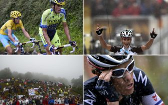A combination of pictures shows (From L, Up to bottom) Italy's Vincenzo Nibali (L) wearing the overall leader's yellow jersey and Spain's Alberto Contador riding ; France's Blel Kadri crossing the finish line ; fans pictured along the road ; and France's Sylvain Chavanel riding in a breakaway ; as part of the 161 km eighth stage of the 101st edition of the Tour de France cycling race on July 12, 2014 between Tomblaine and Gerardmer La Mauselaine, eastern France.  AFP PHOTO / LIONEL BONAVENTURE / ERIC FEFERBERG /  LIONEL BONAVENTURE / JEFF PACHOUD        (Photo credit should read LIONEL BONAVENTURE,ERIC FEFERBERG,JEFF PACHOUD/AFP via Getty Images)
