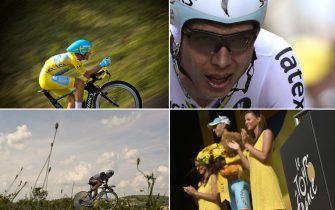 A combination of pictures shows (From L, up to bottom) Italy's Vincenzo Nibali wearing the overall leader's yellow jersey riding ; Germany's Tony Martin crossing the finish line ; France's Jean-Christophe Peraud riding ; and Italy's Vincenzo Nibali celebrating his overall leader's yellow jersey ; during the twentieth stage, a 54 km individual time trial, as part of the 101st edition of the Tour de France cycling race on July 26, 2014 between Bergerac and Perigueux, western France.  AFP PHOTO / LIONEL BONAVENTURE /ERIC FEFERBERG /JEFF PACHOUD / JEFF PACHOUD        (Photo credit should read ERIC FEFERBERG,JEFF PACHOUD,LIONEL BONAVENTURE/AFP via Getty Images)