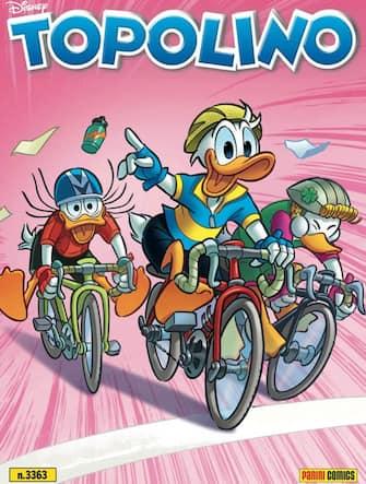 La copertina del numero 3.363 del fumetto Topolino che ospiterà una storia dedicata al Giro d'Italia la cui 103/a edizione avrà luogo ad Ottobre, Roma, 6 maggio 2020. ANSA/UFFICIO STAMPA GOIGEST