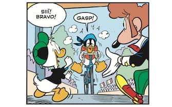 Una vignetta del numero 3.363 del fumetto Topolino che ospiterà una storia dedicata al Giro d'Italia la cui 103/a edizione avrà luogo ad Ottobre, Roma, 6 maggio 2020. ANSA/UFFICIO STAMPA GOIGEST