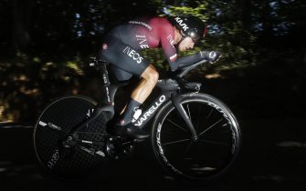 epa07727249 Poland's Michal Kwiatkowski of team Ineos in action during the 13th stage of the 106th edition of the Tour de France cycling race, a 27.2km individual time trial around Pau, France, 19 July 2019.  EPA/YOAN VALAT