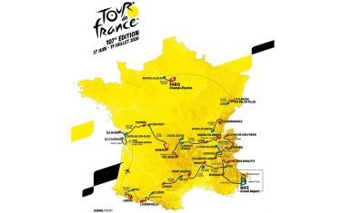epa07922209 A handout photo made available by the Amaury Sport Organisation (A.S.O.) on 15 October 2019 of the map of the 2020 Tour de France cycling race route. The 107th edition of the Tour de France will take place from 27 June until 19 July 2020 with the Grand Depart being held in Nice, France.  EPA/ASO HANDOUT  HANDOUT EDITORIAL USE ONLY/NO SALES
