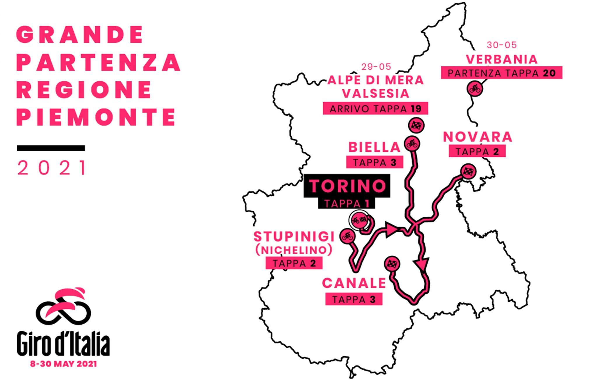 Cartina Piemonte Torino.Giro D Italia 2021 Le Prime 3 Tappe In Piemonte Il Percorso Sky Sport