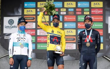 LES GETS, FRANCE - JUNE 06: Alexey Lutsenko of Kazahkstan and Team Astana â   Premier Tech, Richie Porte of Australia Yellow Leader Jersey & Geraint Thomas of The United Kingdom and Team INEOS Grenadiers  celebrate at podium during the 73rd Critérium du Dauphiné 2021, Stage 8 a 147km stage from La Léchère-Les-Bains to Les Gets 1160m / #UCIworldtour / #Dauphiné / @dauphine / on June 06, 2021 in Les Gets, France. (Photo by Bas Czerwinski/Getty Images)