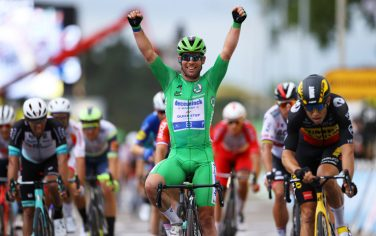 VALENCE, FRANCE - JULY 06: Mark Cavendish of The United Kingdom and Team Deceuninck - Quick-Step Green Points Jersey Green Points Jersey stage winner celebrates at arrival & Wout Van Aert of Belgium and Team Jumbo-Visma during the 108th Tour de France 2021, Stage 10 a 190,7km stage from Albertville to Valence / @LeTour / #TDF2021 / on July 06, 2021 in Valence, France. (Photo by Tim de Waele/Getty Images)