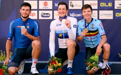Europei: Ganna 2° nella crono, vince Küng