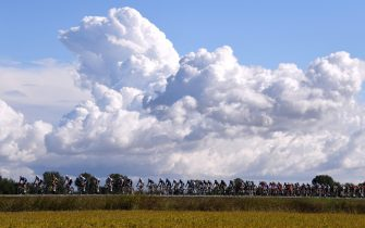 MILAN, ITALY - OCTOBER 06: A general view of the peloton competes during the 102nd Milano-Torino 2021 a 190km race from Magenta to Torino - Superga 669m / #MilanoTorino / on October 06, 2021 in Milan, Italy. (Photo by Tim de Waele/Getty Images)