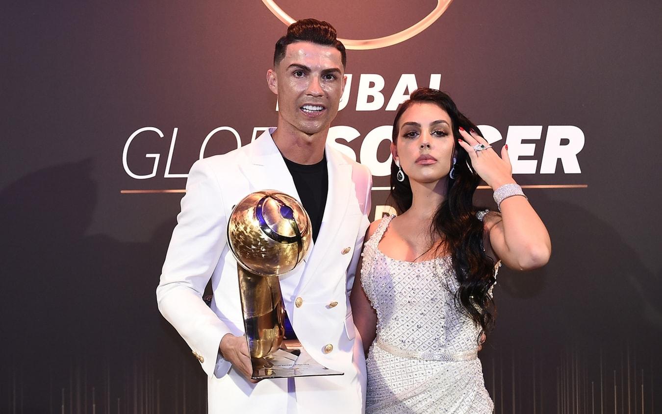 Georgina Rodriguez e Cristiano Ronaldo ai Globe Soccer Awards