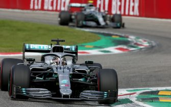 MONZA, ITALY - SEPTEMBER 08: Lewis Hamilton of Great Britain driving the (44) Mercedes AMG Petronas F1 Team Mercedes W10 leads Valtteri Bottas driving the (77) Mercedes AMG Petronas F1 Team Mercedes W10 on track during the F1 Grand Prix of Italy at Autodromo di Monza on September 08, 2019 in Monza, Italy. (Photo by Charles Coates/Getty Images)