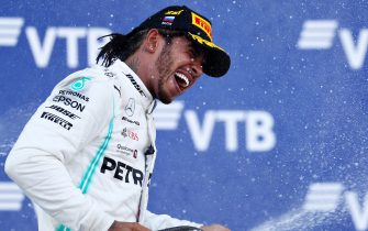 SOCHI, RUSSIA - SEPTEMBER 29: Race winner Lewis Hamilton of Great Britain and Mercedes GP celebrates on the podium during the F1 Grand Prix of Russia at Sochi Autodrom on September 29, 2019 in Sochi, Russia. (Photo by Mark Thompson/Getty Images)