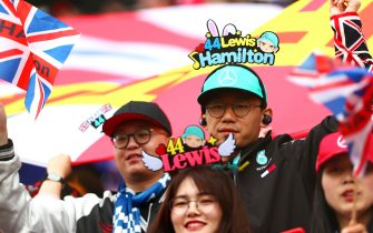 SHANGHAI, CHINA - APRIL 14: Lewis Hamilton of Great Britain and Mercedes GP fans enjoy the atmosphere during the F1 Grand Prix of China at Shanghai International Circuit on April 14, 2019 in Shanghai, China. (Photo by Dan Istitene/Getty Images)