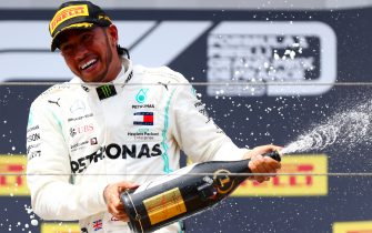 LE CASTELLET, FRANCE - JUNE 23: Race winner Lewis Hamilton of Great Britain and Mercedes GP celebrates on the podium during the F1 Grand Prix of France at Circuit Paul Ricard on June 23, 2019 in Le Castellet, France. (Photo by Dan Istitene/Getty Images)