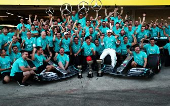 SUZUKA, JAPAN - OCTOBER 13: The Mercedes GP team celebrate winning the constructors championship after the F1 Grand Prix of Japan at Suzuka Circuit on October 13, 2019 in Suzuka, Japan. (Photo by Dan Istitene/Getty Images)