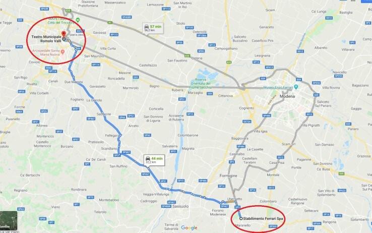 La distanza dallo Stabilimento di Maranello al Teatro Valli (Google Street)