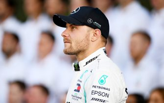 ABU DHABI, UNITED ARAB EMIRATES - NOVEMBER 28: Valtteri Bottas of Finland and Mercedes GP is seen at the Mercedes GP team photo in the Pitlane during previews ahead of the F1 Grand Prix of Abu Dhabi at Yas Marina Circuit on November 28, 2019 in Abu Dhabi, United Arab Emirates. (Photo by Clive Mason/Getty Images)