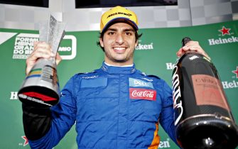 SAO PAULO, BRAZIL - NOVEMBER 17: Carlos Sainz of Spain and McLaren F1 celebrates after later being awarded third place in the F1 Grand Prix of Brazil at Autodromo Jose Carlos Pace on November 17, 2019 in Sao Paulo, Brazil. (Photo by Getty Images/Getty Images)