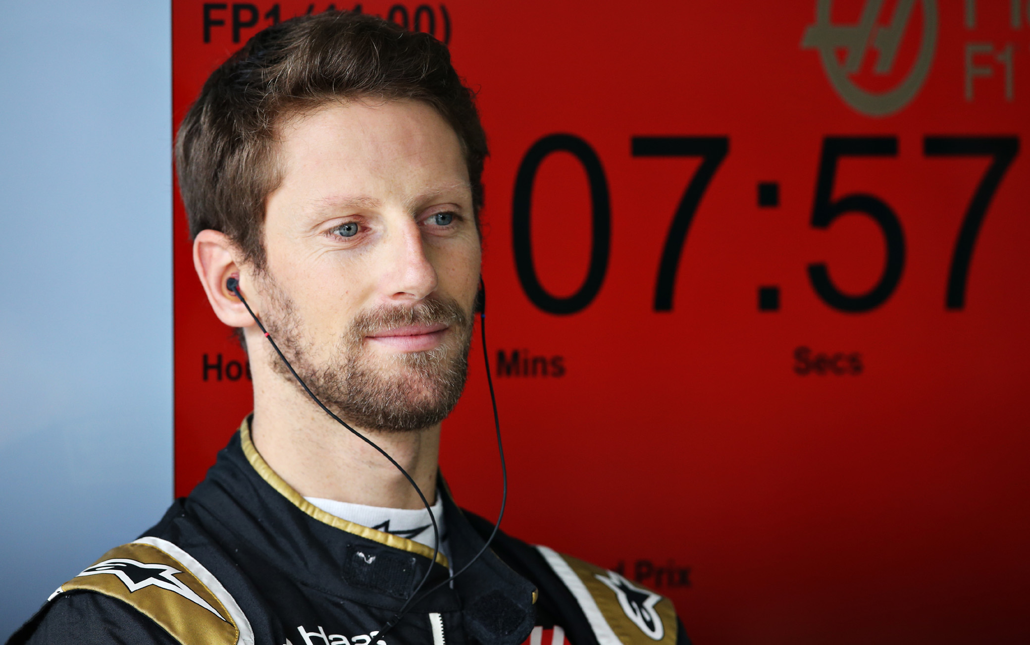 SAO PAULO, BRAZIL - NOVEMBER 15: Romain Grosjean of France and Haas F1 looks on in the garage during practice for the F1 Grand Prix of Brazil at Autodromo Jose Carlos Pace on November 15, 2019 in Sao Paulo, Brazil. (Photo by Charles Coates/Getty Images)