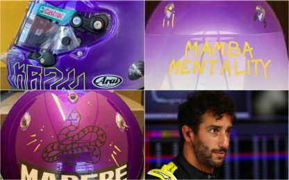 Ricciardo, tributo a Kobe sul casco. FOTO