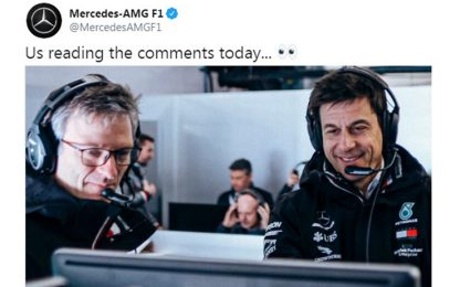 Volante mobile, tweet ironico della Mercedes